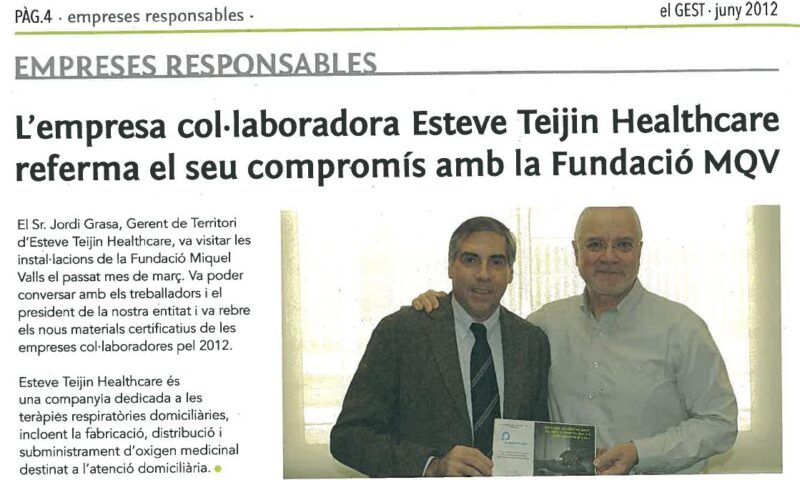Esteve Teijin reafirma su compromiso con los pacientes de ELA y la Fundación Miquel Valls